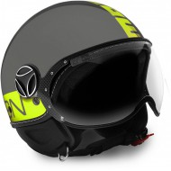CASCO JET MOMO FIGHTER GRIS/AMARILLO FLUOR